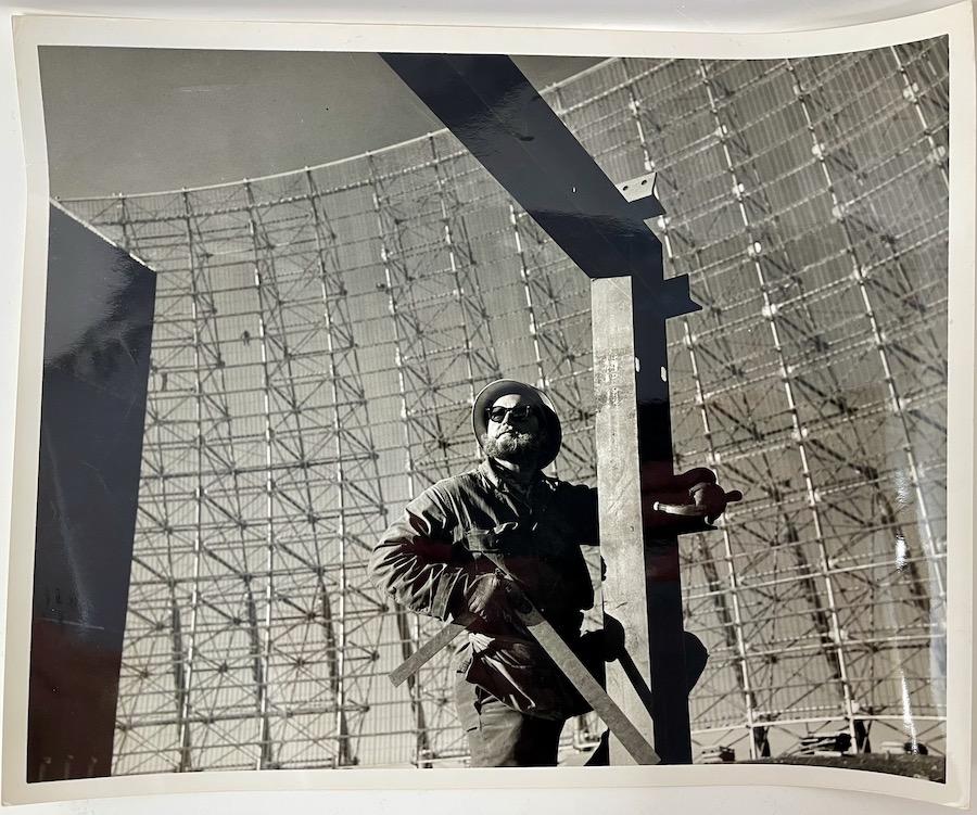 Steel worker high up on the BMEWS surveillance radar antenna