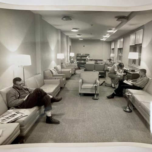 RCA BMEWS Site I, Thule Greenland, 16 December 1959, view of staff lounge for RCA workers