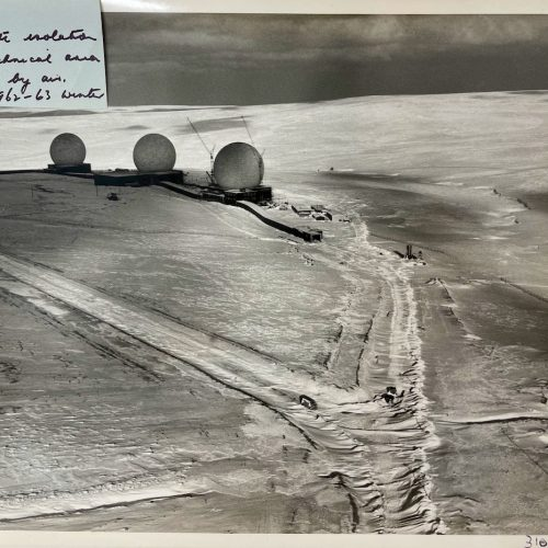 Dennis Wompra Studios Collection, aerial view of RAF Fylingdales under construction 21 January 1963