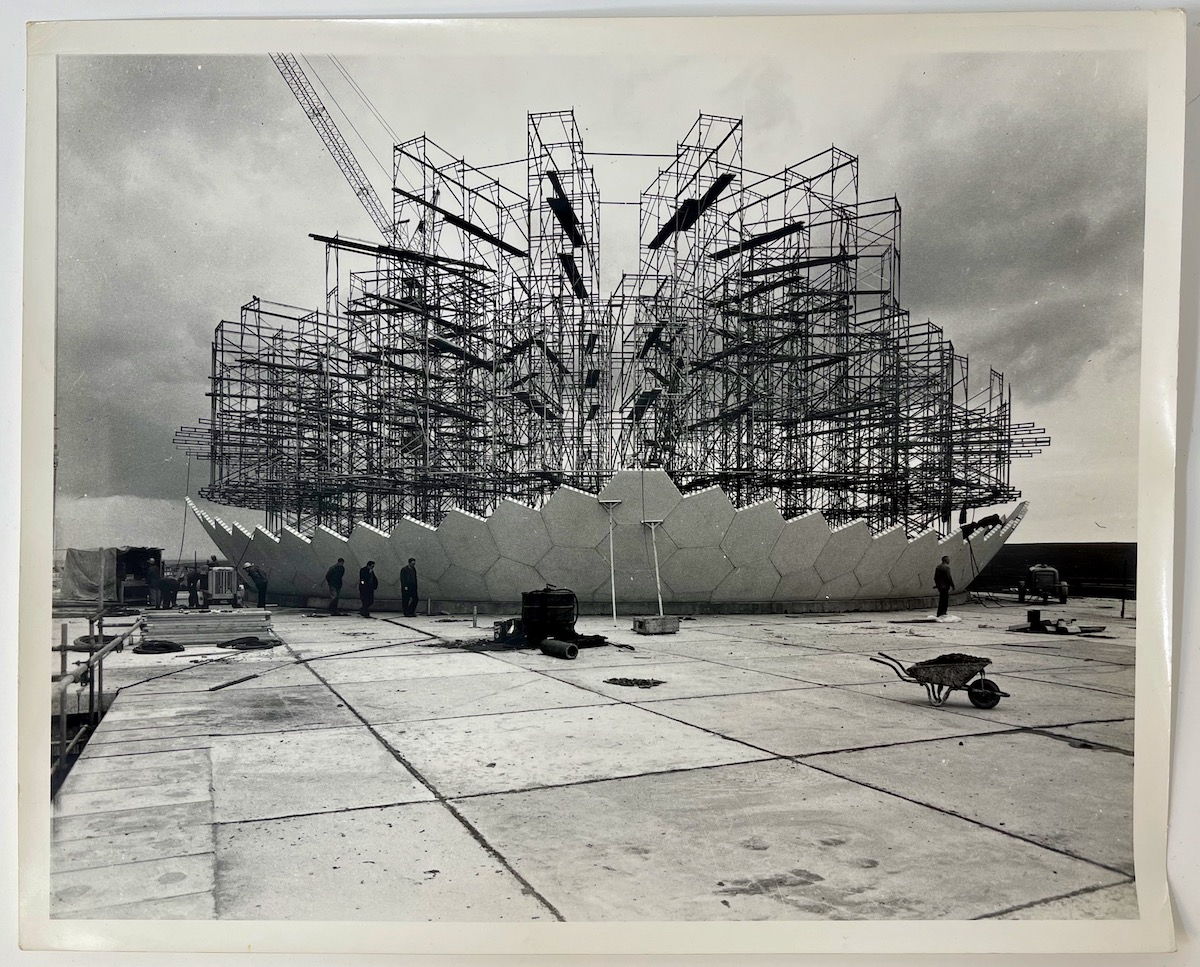 Dennis Wompra Studios Collection, view of exterior of radome construction