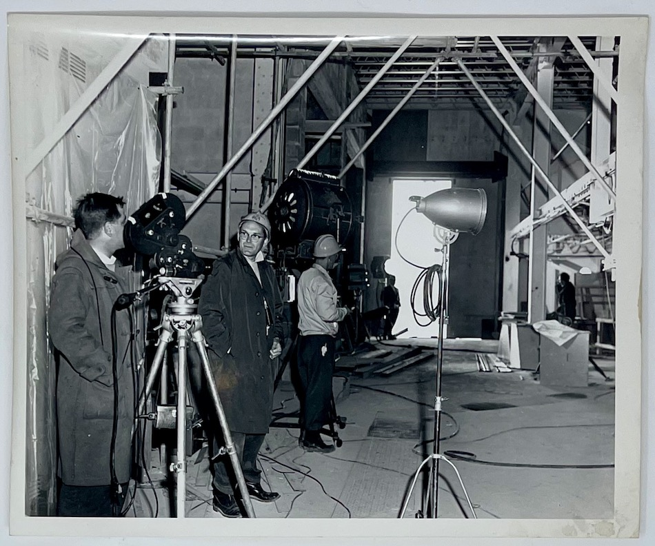 Dennis Wompra Studios Collection, Yorkshire Television crew filming in RAF Fylingdales store