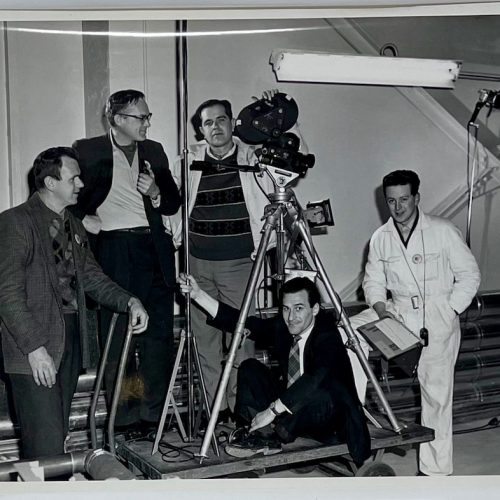 Dennis Wompra Studios Collection, group photo of the Yorkshire Television crew at RAF Fylingdales