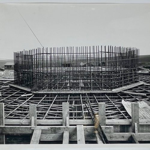 Dennis Wompra Studios Collection, scaffolding surrounding the 'tower'
