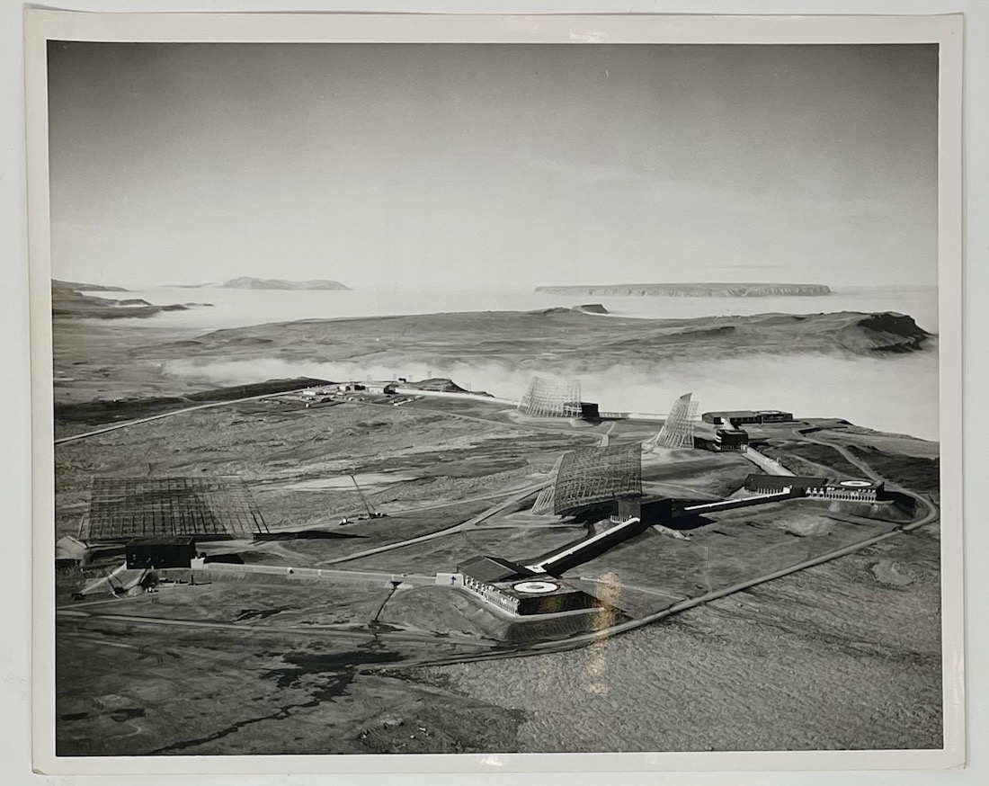 Dennis Wompra Studios Collection. Image aerial view of BMEWS Site I Thule Greenland