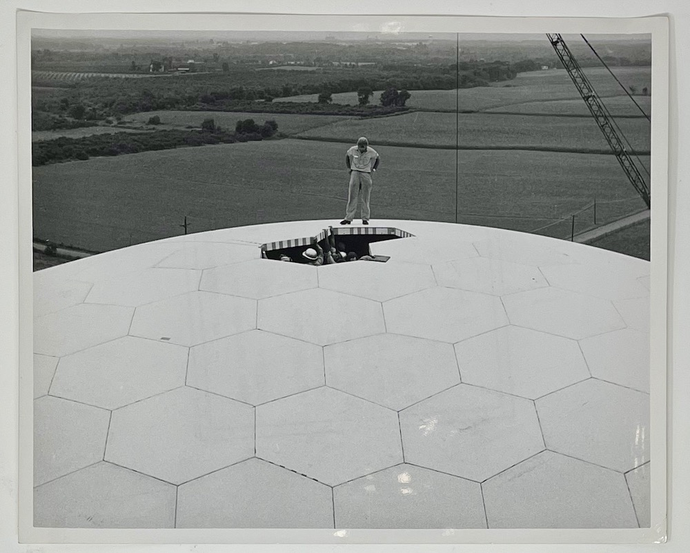 Dennis Wompra Studios Collection, engineers installing the last radome panels at RCA 474L BMEWS
