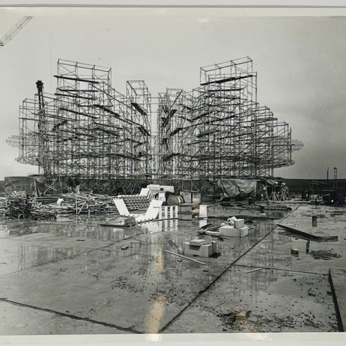 Dennis Wompra Studios Collection, 21 May 1962, external view of radome scaffolding being constructed